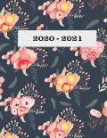2020-2021: Monthly Planner 2020-2021 Floral Peony
