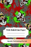 Scary Clown Theme Wide Ruled Line Paper