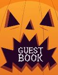 Guest Book: Halloween Party Guestbook Supply Essential,8.5 x 11 Sized, 100 Pages - Ideal for Halloween Costume Party