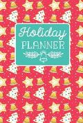 Holiday Planner: Monthly Organizer: Christmas Card, Shopping Budgets, Meal Planner Notebook & Grocery List, Baking Cookies Aqua Red & W