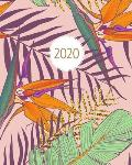 2020: Weekly & Monthly Planner & Diary - Tropical Palm Leaf, Gold Banana Leaves & Birds of Paradise Flowers - Week to View A