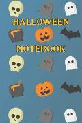 Halloween Notebook: Spooky halloween night notebook - skulls - pumpkins - bones - witches hats - black cat - bats - ghosts - gravestones -