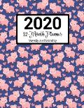 2020 12-Month Planner Weekly and Monthly: Pigs Pattern With Daily Goals and Meal Planner