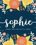 Sophie: Notebook Libreta Cahier Taccuino Notizbuch: 110 pages paginas seiten pagine: Modern Florals First Name Notebook in Ora