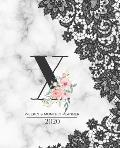 Weekly & Monthly Planner 2020 X: Black Lace Marble Monogram Letter X with Pink Flowers (7.5 x 9.25 in) Vertical at a glance Personalized Planner for W