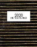 2020 One Year Planner: Jan 2020-Dec 2020, 1 Year Planner, gold striped marble digital paper cover, featuring 2020 Overview, daily, weekly, mo
