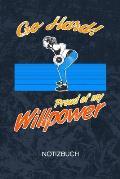Proud Of My Willpower: Fitness Model Notizbuch A5 Kariert - Kraftsportler Heft - Fitness Notizheft 120 Seiten KARO - Willenskraft Notizblock