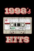 1998's Hits: Birthday Retro Cassette Gym Weightlifting Diary 6 x 9 100 pages