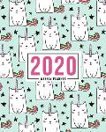 2020 Weekly Planner: Jan 1, 2020 to Dec 31, 2020: Monthly & Weekly View Planner & Organizer: Cute Cat Unicorns on Green: 978-1-7008-0335-1