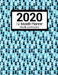 2020 12-Month Planner Weekly & Monthly: Chess Pattern For Men and Women