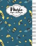 Music Sheet Notebook: Blank Staff Manuscript Paper with Unique Insects Themed Cover Design