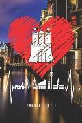 Hamburg Notes: Hamburg Skyline Notizbuch F?r Echte Hamburger Mit Herzschlag Planer Tagebuch Schreibheft (Punktraster / Dot Grid, 120