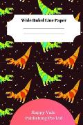 Cute Dinosaur Foot Theme Wide Ruled Line Paper