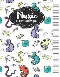 Music Sheet Notebook: Blank Staff Manuscript Paper with Unique Animals Design Themed Cover