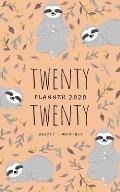Twenty Twenty, Planner 2020 Weekly Monthly: 5x8 Full Year Notebook Organizer Small - 12 Months - Jan to Dec 2020 - Sloth Flower Leaf Design Orange