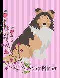 5 Year Planner: 2020 - 2024 Monthly Planner Organizer Undated Calendar And ToDo List Tracker Notebook Shetland Sheepdog Dog Pink Cover