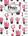 Music Sheet Notebook: Blank Staff Manuscript Paper with Cactus Themed Cover Design