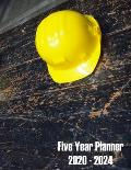 Five Year Planner 2020 - 2024: Rustic Yellow Hard Hat Construction Worker Agenda Planner For The Next Five Years. Monthly Schedule Organizer