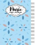 Music Sheet Notebook: Blank Staff Manuscript Paper with Geometric Leaves Themed Cover Design