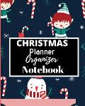 CHRISTMAS Planner Organizer Notebook: Flexible easy wipe-clean matte cover perfectly sized 8X10 inches, 100 pages with beautiful layouts with inspirat
