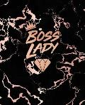 Boss Lady: Inspirational Quote Notebook, Trendy Black Marble and Rose Gold - 7.5 x 9.25, 120 College Ruled Pages