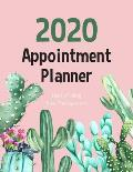 2020 Weekly Hourly Appointment Planner: Watercolor Cactus - Times Daily and Hourly Schedule Monday to Sunday 8AM to 9PM - Appointment for Nail, Salon,