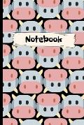 Notebook: Cute Cow pink blue white.Cow themed gift, cow birthday gift, cow gift for women, cow gifts for kids, cow gag gift.