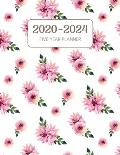2020-2024 Five Year Planner: Monthly Agenda & Schedule with US Holidays - 60 Months or 5 Years - Cameo Pink Floral And Green Leaves