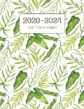 2020-2024 Five Year Planner: Monthly Agenda & Schedule with US Holidays - 60 Months or 5 Years - Green Foilage