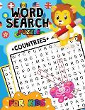 Countries Word Search Puzzle for Kids: Easy and Fun Activity Learning Workbook with Cute Unicorn Coloring Pages