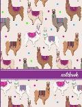 Notebook: Llama Pattern (3) Purple Banner Standard Dot Grid Paper