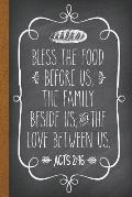 Bless the Food Before Us: DIY Cookbook Blank Recipe Journal to Write in for Christians