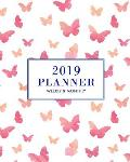 2019 Planner: Weekly and Monthly with to Do List, 1 Year Dated, Student and Teacher Academic Planner, Watercolor Butterfly