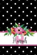 Hannah: Personalized Journal with Name and Monogram Initial with Lined and Dot Grid Pages