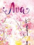 Ava: Personalized Journal - A Pink Cherry Blossom Diary