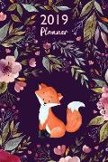 Fox Planner: 2019: Organizer and Notebook: Beautiful Floral Design