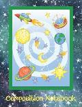 Composition Notebook: Space Rockets Galaxy Theme for Students. Paperback Wide Ruled Lined Blank Notebook for School.