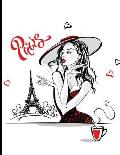 Paris Sketchbook: Eiffel Tower Cafe Scene: 120 Blank Pages for Sketching or Drawing