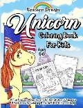 Unicorn Coloring Book for Kids Ages 4-8: A Fun Unicorn Adventure in United States of America (USA) Activity Coloring Book Gift for Girls and Boys