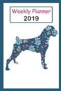 2019 Weekly Planner: Cute Boxer Dog Blue Flower Pattern