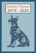 2019 - 2020 Weekly Planner: Cute German Shepherd Dog Blue Flower Pattern