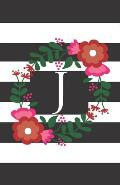 J: Personalized Monogrammed Journal (Notebook/Diary) Gift for Friend Office Teacher Black and White Stripes with Red Flow