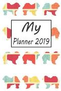 My Planner 2019: Chow Chow Dog Pattern Weekly Planner 2019: 12 Month Agenda - Calendar, Organizer, Notes, Goals & to Do Lists