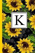 K: Floral Letter K Monogram Personalized Journal, Black & Yellow Sunflower Pattern Monogrammed Notebook, Lined 6x9 Inch C