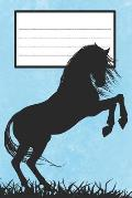 Composition Book: College Ruled Notebook Composition Book Diary Horse Rearing Blue Cover