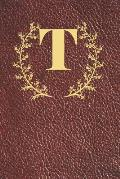 T: Executive Monogram Initial Journal (Vintage Leather Look Personalized Letter Notebooks)