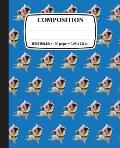 Composition Notebook: Bulldog Yoga: Wide Ruled 100-Pages for School Office Home Student Teacher Use