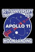 Apollo 11 Moon Landing: Notebook Journal 50th Anniversary 1969 2019