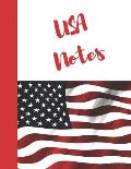 USA Notes: American Flag College Ruled Composition Writing Notebook