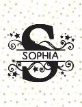 Sophia: (8.5 x 11 Lined) College Ruled Blank Journal Notebook With Monogram Letter S and Personalized Name